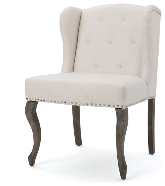 Asheville Modern Fabric Wingback Chair, Beige  Traditional Armchairs And Accent Chairs