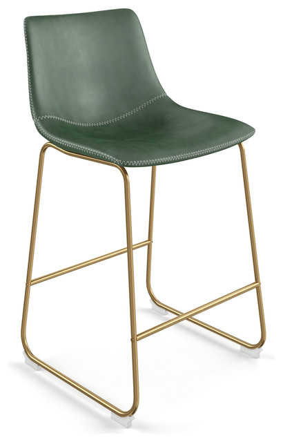 Stupendous Aeon Furniture Petra Set Of 2 Bar Stool In Green And Gold Finish Ae17163 G 16 Ibusinesslaw Wood Chair Design Ideas Ibusinesslaworg
