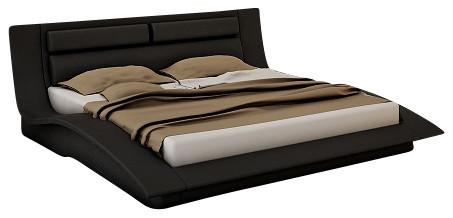 jm wave black leather lacquer queen size platform bed platform beds - Queen Size Platform Bed Frames