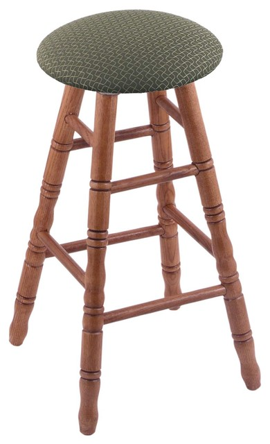 XL Oak Round Cushion Extra Tall Bar Stool Turned Legs Medium Axis Denim Se