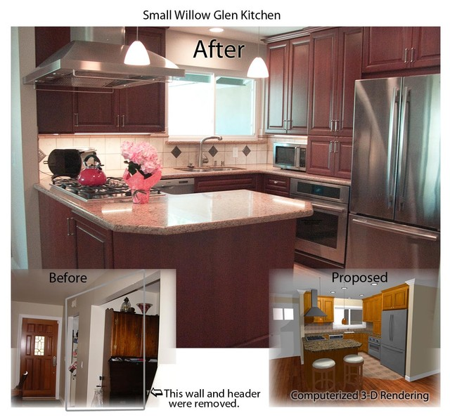Small kitchen renovation before and after traditional for Small kitchen remodel before and after
