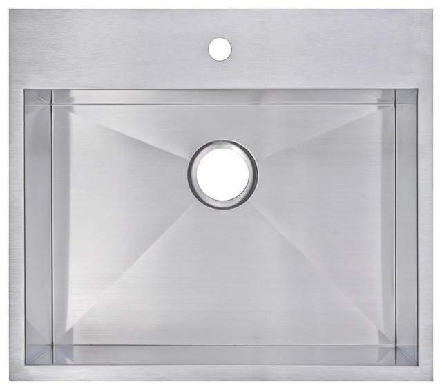 25 X 22 Single Basin Top Mount Stainless Steel Kitchen Sink Contemporary Kitchen Sinks By Water Creation Houzz