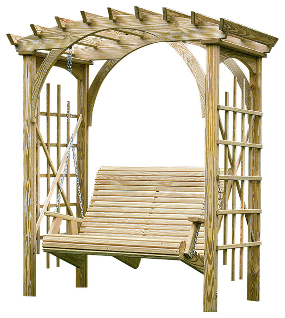 Pine 3'x6' Roman Arch Arbor With 4' Rollback Swing, Unfinished