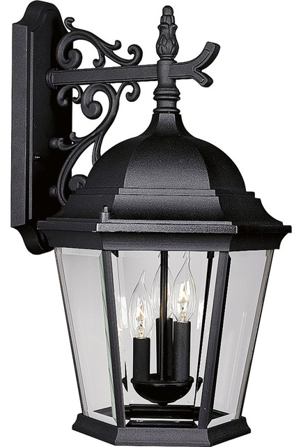Progress Lighting 3-Light Wall Lantern With Clear Beveled Glass Pan, Black