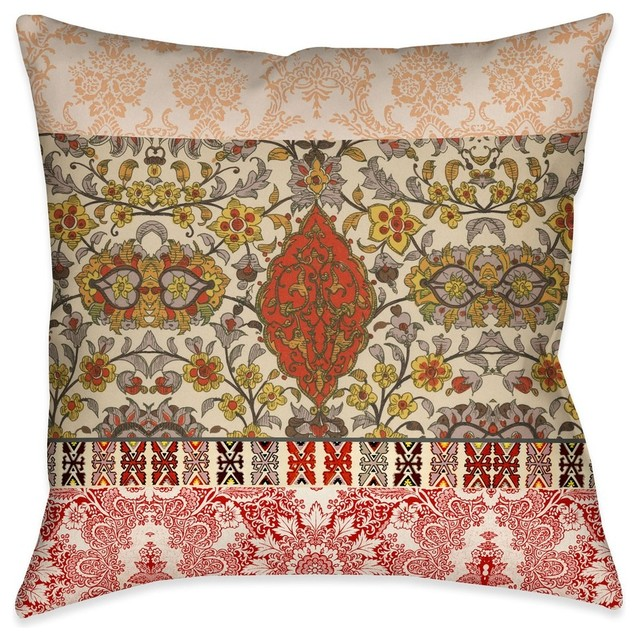 Laural Home Red Spice Bohemian Tapestry Indoor Decorative Pillow.