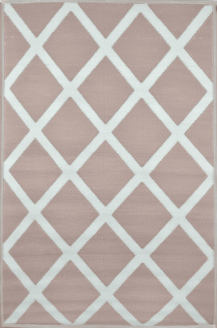Diamond Indoor/Outdoor Rug, Warm Taupe and Cream, 150x240 cm