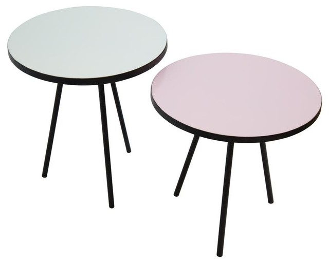 Pastel Side Table ~ Set of rosa pastel tables contemporary coffee table