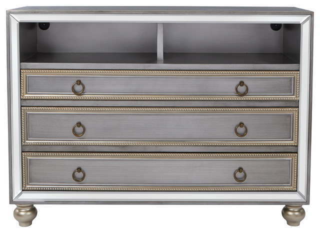 Florencia Storage Console 3-Drawer, Brushed Silver.