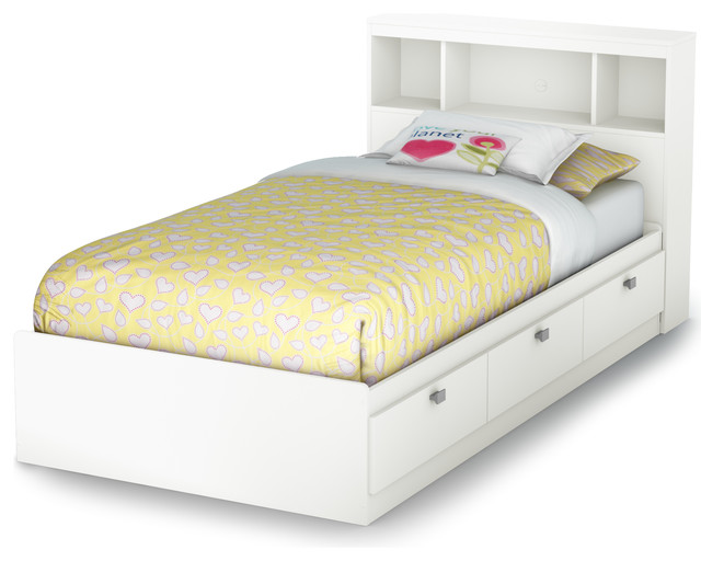 South Shore Spark Twin Storage Bed And Bookcase Headboard, Pure White.