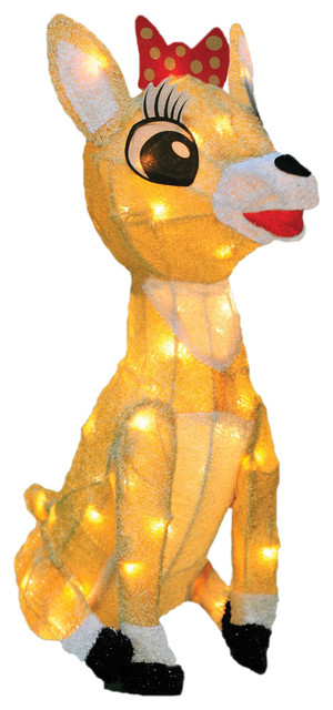18 pre lit rudolph the red nosed reindeer clarice christmas yard art decoration - Rudolph The Red Nosed Reindeer Christmas Decorations