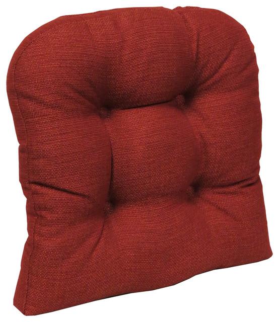 "Non-Slip 17""x17"" Omega Tufted Universal Chair Cushion, Flame."