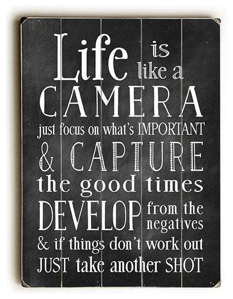 """""""life Is Like A Camera"""" Planked Wood Sign, 12""""x16"""". -1"""
