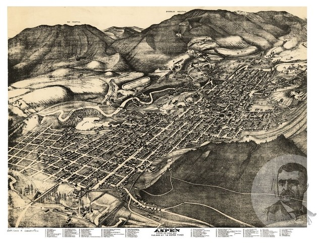 Old Map of Aspen Colorado 1893, Vintage Map Art Print, 24