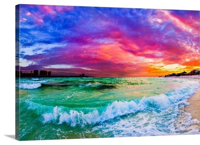 PURPLE SUNRISE OVER THE SEA BEAUTIFUL SUNSET CANVAS PRINT WALL ART PICTURE