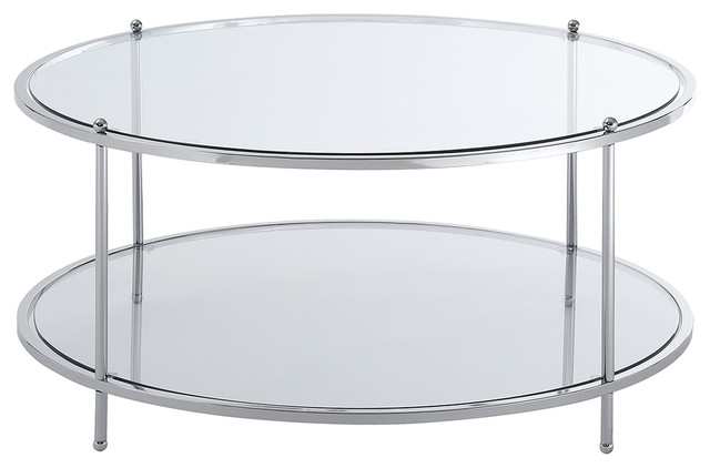 Convenience Concepts Royal Crest Round, Round Metal And Glass Coffee Table