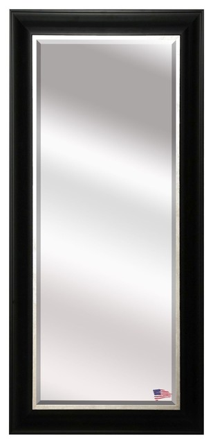 Us Made Grand Black And Aged Silver Beveled Full Body Mirror, Full Size.