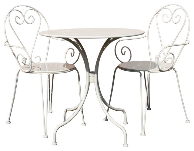 Charles Bentley Outdoor Steel Heart 3-Piece Bistro Set, Cream