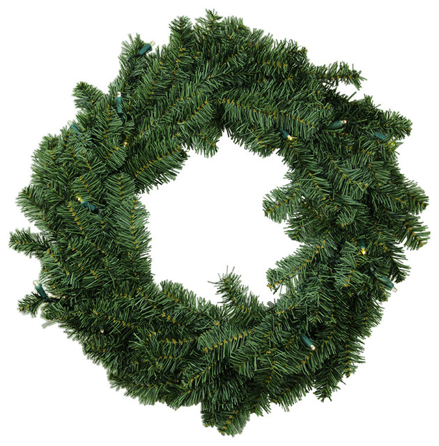 "24"" B/o Canadian Pine Artificial Christmas Wreath,  Warm Clear Led Lights."
