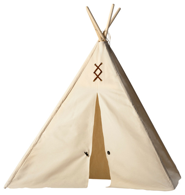Kids Teepee - Natural Canvas with Brown Trim, Large