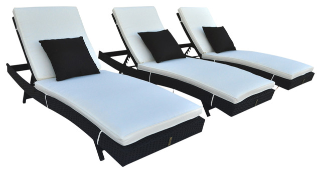 Zori Set Of 3 Chaise Lounge Chairs, Black Rattan With Cream Cushions.
