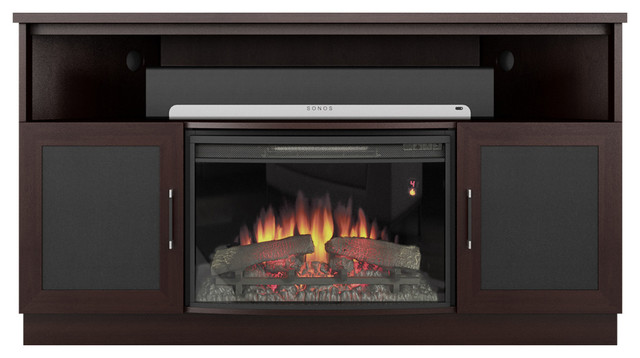 """60"""" Contemporary Tv Corner Console, 25"""" Curved Electric Fireplace, Wenge Finish."""
