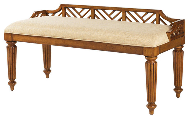 Tommy Bahama Island Estate Plantain Bed Bench, Custom Fabric.