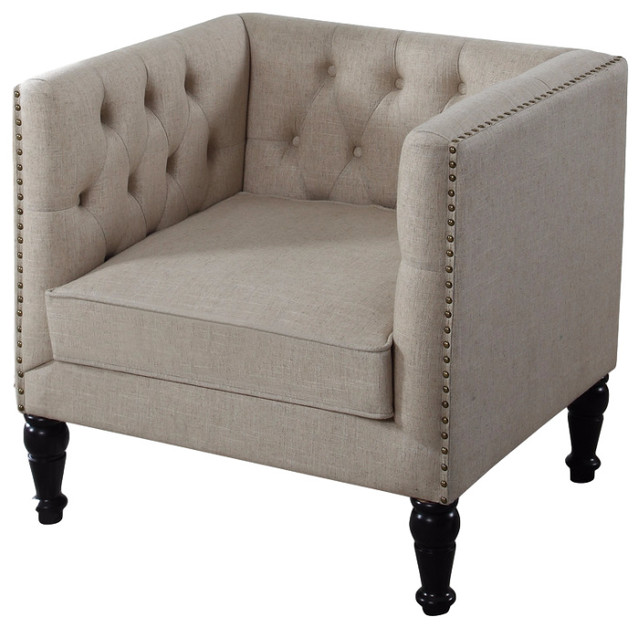 Madelyn Natural Fabric With Nail Heads Living Room Chair  Traditional Armchairs And Accent