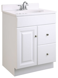 "wyndham 1-door 2-drawer vanity, white semi-gloss finish, 24""x18 18 Inch Bathroom Vanity"
