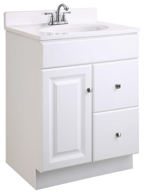 """Wyndham 24""""x18"""" White 1 Door 2 Drawer White Semi-Gloss Finish."""