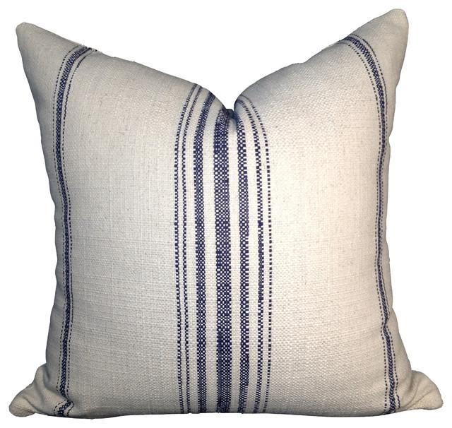 Primitive Navy Blue Stripe Cotton Pillow Cover Off White