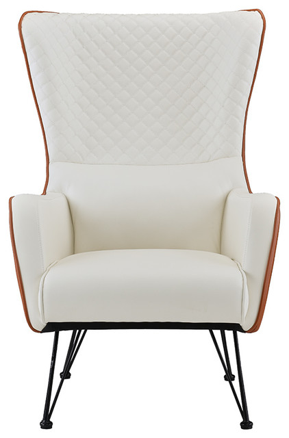 Mid-Century Faux Leather Armchair, Camel/white. -1