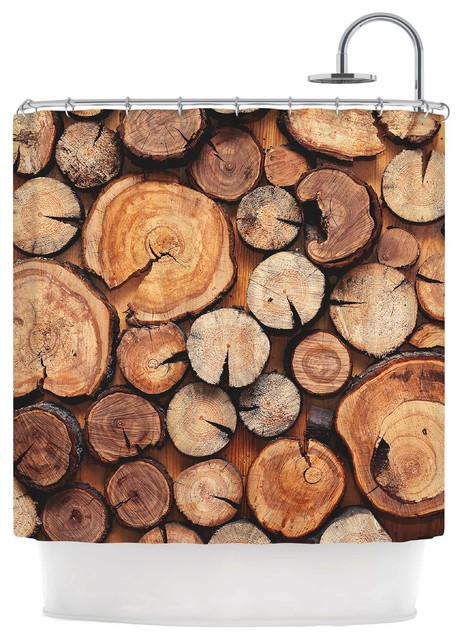 Susan Sanders Rustic Wood Logs Brown Tan Shower Curtain