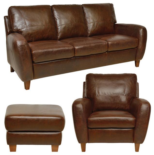 Genuine Italian Leather Sofa, Chair U0026 Ottoman In Antique Tan  Traditional Living Room
