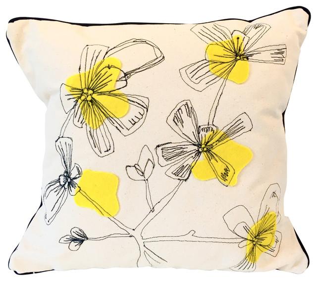 "Purslane Freehand Machine Drawn Pillow, White With Yellow, 20"""