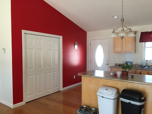 Choosing bedroom colors red accent wall in living room for Nice colours for kitchen walls
