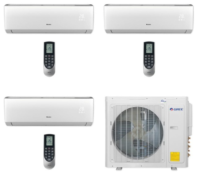 Gree 3-Zone Mini Split A/c Heat Pump 208-230v, 30,000 Btu, 9k, 9k, 12k
