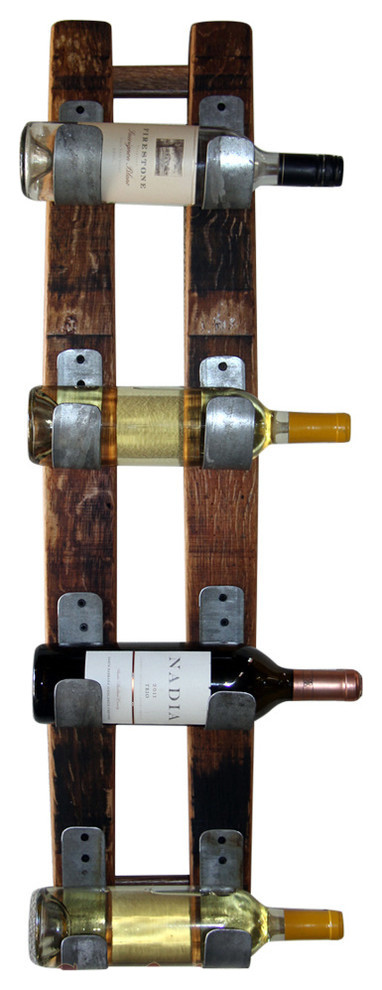 Wine Barrel 4-Bottle Display, U Design