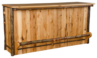 Hickory Rustic Bar With Foot Rail All Hickory Rustic