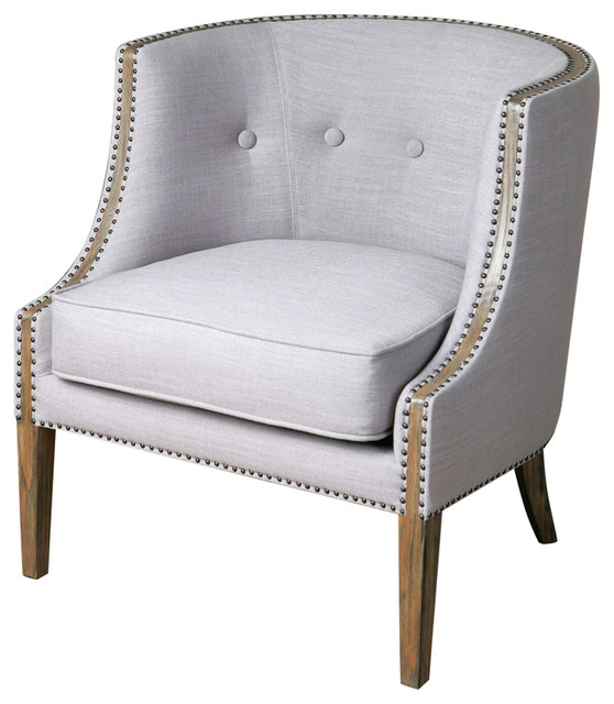 Light Grey Accent Chair: Uttermost 23220 Gamila Light Gray Accent Chair