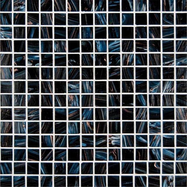 "Midnight Blue Iridescent 3/4x3/4x4 mm. Glass Mosaic Tiles, 12""x12"", 10 Sq. ft."