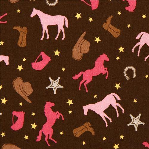 brown Riley Blake cowboy fabric with horse horseshoe