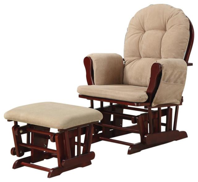 2-Piece Glider Chair With Ottoman Set, Brown by Benjara