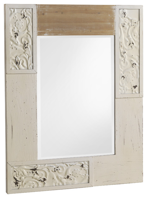 Whitewashed Country Wall Mirror, 70x90 cm