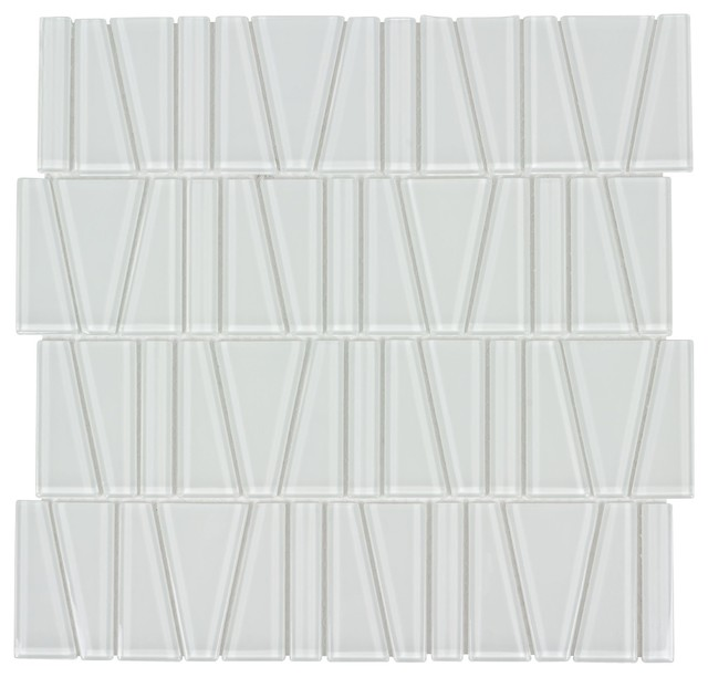 MTO0163 Modern Trapezoid White Beige Glossy Glass Mosaic Tile by Mosaic Tile Outlet