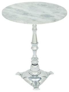 Nightingale Pedestal Table, Aluminum and Marble