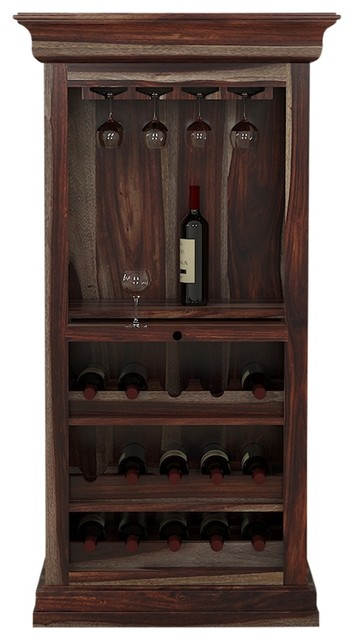 Alsace Handcrafted Solid Wood 15 Bottle Tall Wine Bar Cabinet