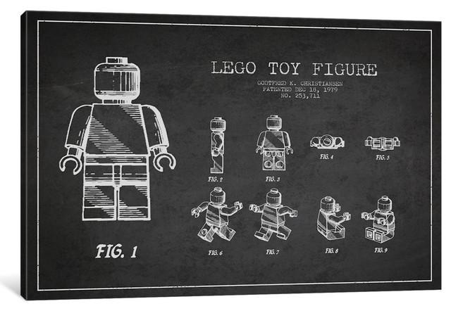 """""""Lego Dark Patent Blueprint"""" by Aged Pixel, 18""""x12""""x.75"""", 1-Piece"""