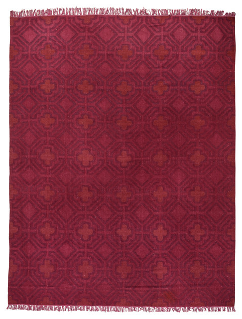 Sofia Overdyed Flat Weave Area Rug, Very Berry, 8&x27;x10&x27;.