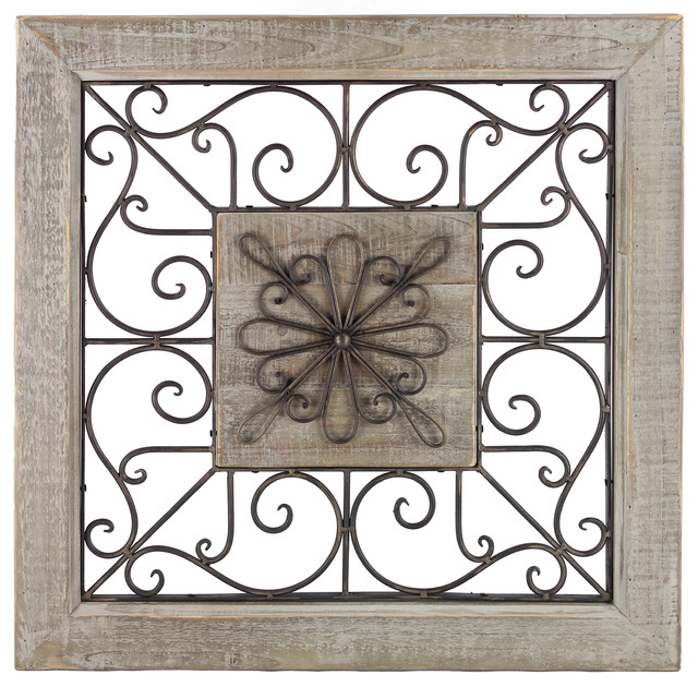 Metal Scroll Wall Decor scroll framed wall decor, metal and wood - rustic - wall panels