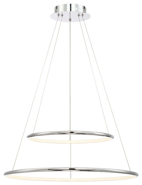 Eurofase Valley Contemporary Led Two-Tier Ring Light Pendant.